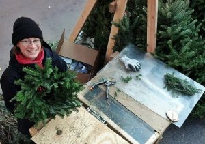 Sarah Making Wreaths